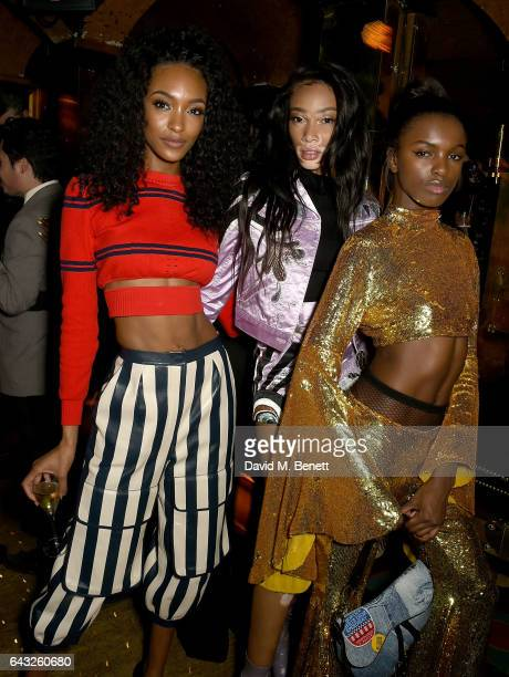 Jourdan Dunn Winnie Harlow and Leomie Anderson at the LOVE and Burberry London Fashion Week Party at Annabel's celebrating Katie Grand and Kendall...