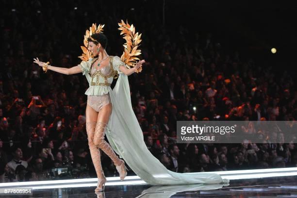 Jourdana Phillips walks the runway at the 2017 Victoria's Secret Fashion Show In Shanghai Show at MercedesBenz Arena on November 20 2017 in Shanghai...
