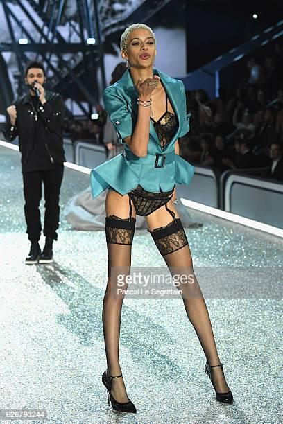 Jourdana Phillips walks the runway at the Victoria's Secret Fashion Show on November 30 2016 in Paris France
