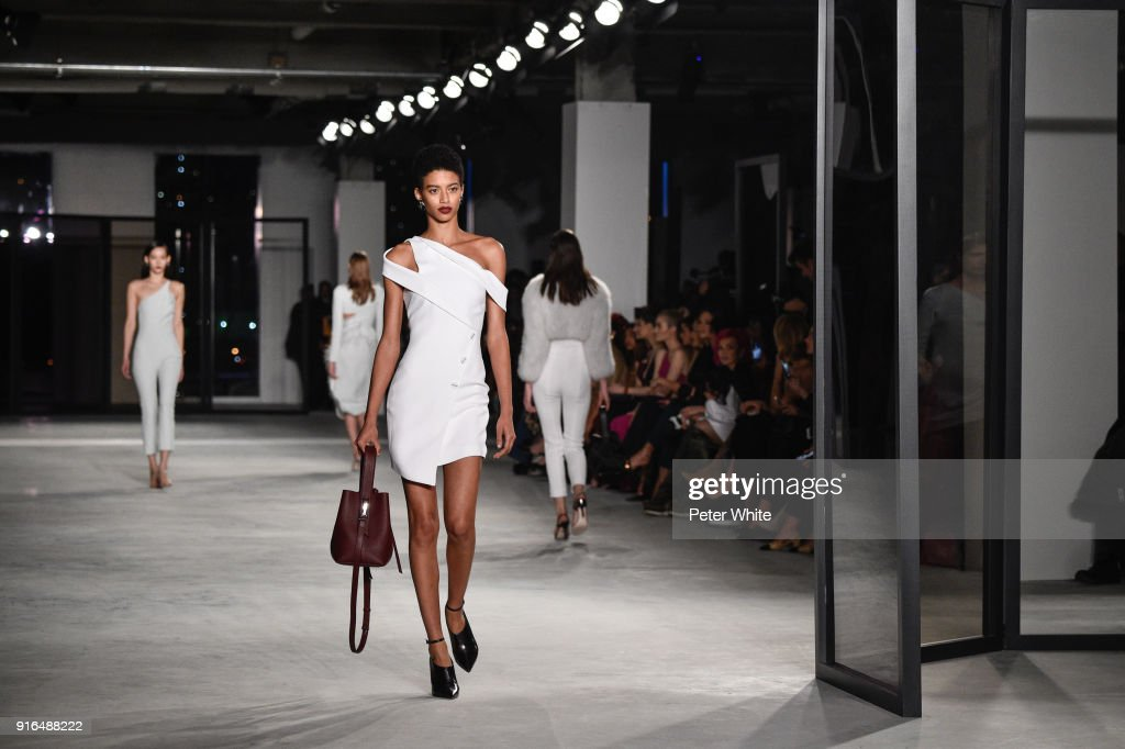 Jourdana Phillips walks the ruway at Cushnie Et Ochs Fashion Show during New York Fashion Week at Pier 17 on February 9, 2018 in New York City.