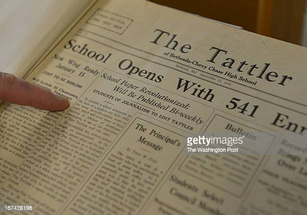 Journalism II teacher David Lopilato points to an article in a 1936 Tattler newspaper during class at Bethesda Chevy Chase High School on November 28...