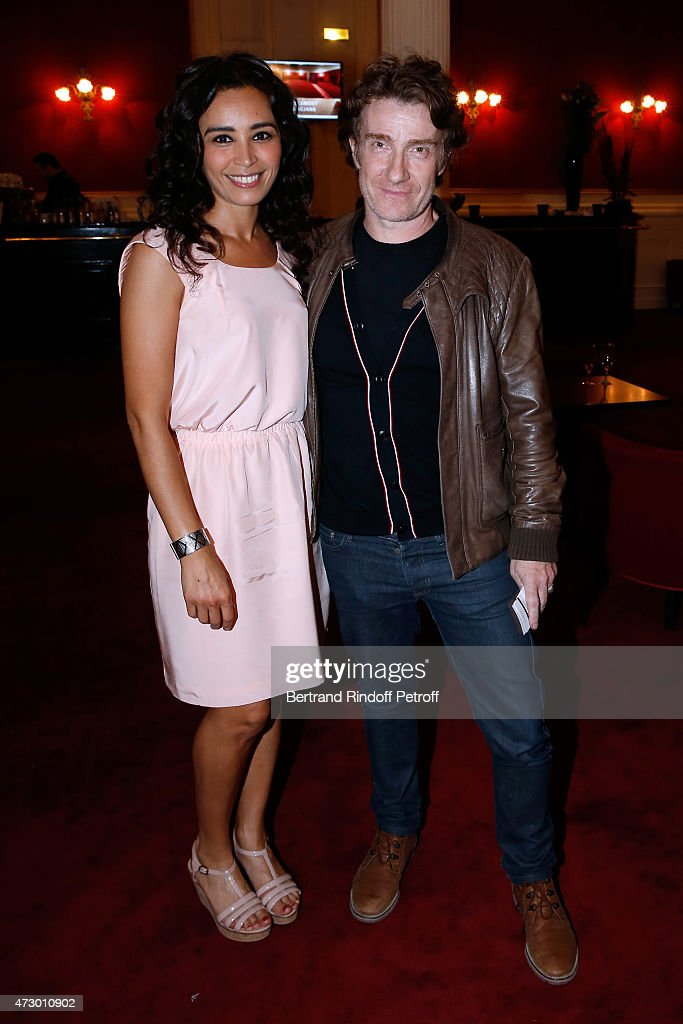 Journalist Aida Touihri and actor Thierrry Fremont attend the 'Open Space' : Theater Play at Theatre de Paris on May 11, 2015 in Paris, France.