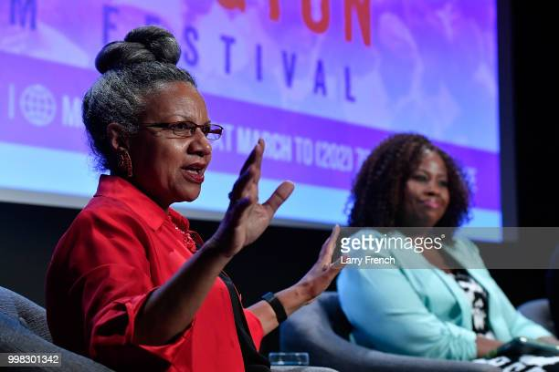 Journalist A'Lelia Bundles and Dr Tiffany Gill appear at In Her Footsteps The Legacy of Madam CJ Walker at the March On Washington Film Festival on...