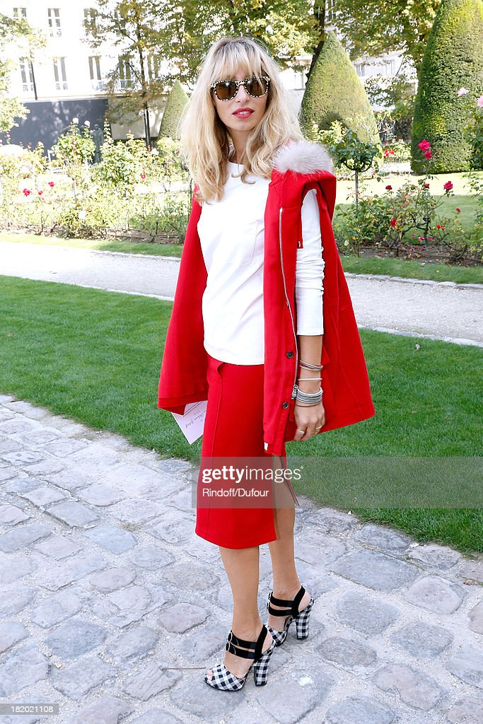 Journalist Alexandra Golovanoff arriving at the Christian Dior show as part of the Paris Fashion Week Womenswear Spring/Summer 2014, held at Musee Rodin on September 27, 2013 in Paris, France.