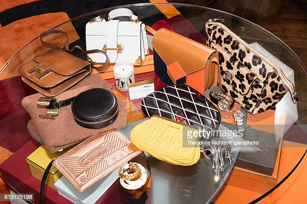 Journalist Alexandra Golovanoff's bags and jewelry are photographed for Madame Figaro on June 8 2016 in Paris France PUBLISHED IMAGE CREDIT MUST READ...