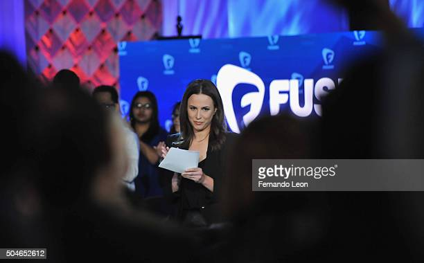 Journalist Alicia Menendez pictured onstage during the FUSION presents the Brown Black Democratic Forum at Drake University on January 11 2016 in Des...