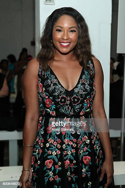 Journalist Alicia Quarles attends the Marissa Webb fashion show during New York Fashion Week at The Gallery Skylight at Clarkson Sq on September 8...
