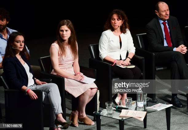 US journalist Amanda Knox attends a panel discussion titled Trial by Media during the Criminal Justice Festival in Modena northern Italy on June 15...