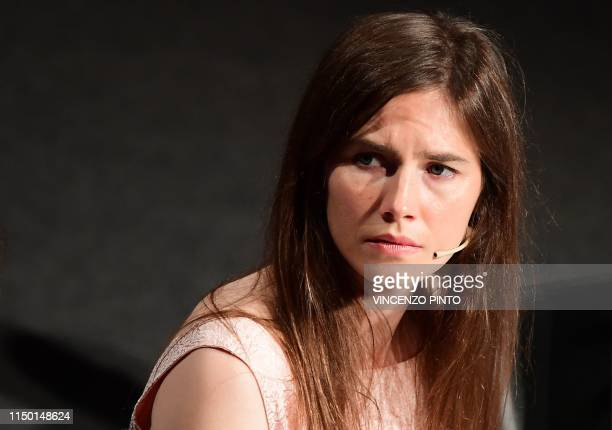 """Journalist Amanda Knox attends a panel discussion titled """"Trial by Media"""" during the Criminal Justice Festival at the Law University of Modena,..."""