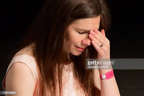 US journalist Amanda Knox reacts after she addressed a panel discussion titled Trial by Media during the Criminal Justice Festival at the Law...