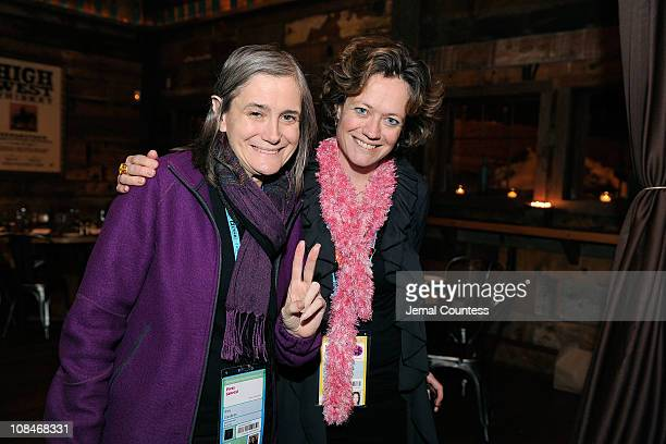 Journalist Amy Goodman and director of the Documentary Film Program Cara Mertes attend the Skoll Closing Dinner at the High West Distillery during...