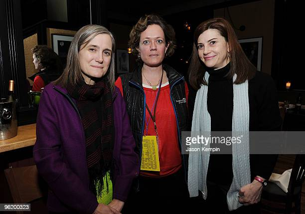 Journalist Amy Goodman Filmmaker Cara Mertes and Senior Consultant to the Sundance Institute Documentary Film Program Patricia Finneran attend the...