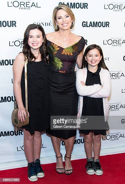 Journalist Amy Robach and children Annie McIntosh and Ava McIntosh attend Glamour's 25th Anniversary Women Of The Year Awards at Carnegie Hall on...
