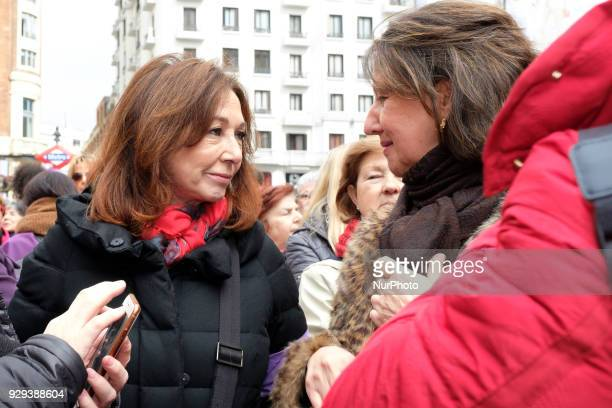 Journalist Ana Rosa Quintana attends the demonstration of the journalists in the 8M strike in the Plaza de Callao in Madridin Madrid on 8th March 2018