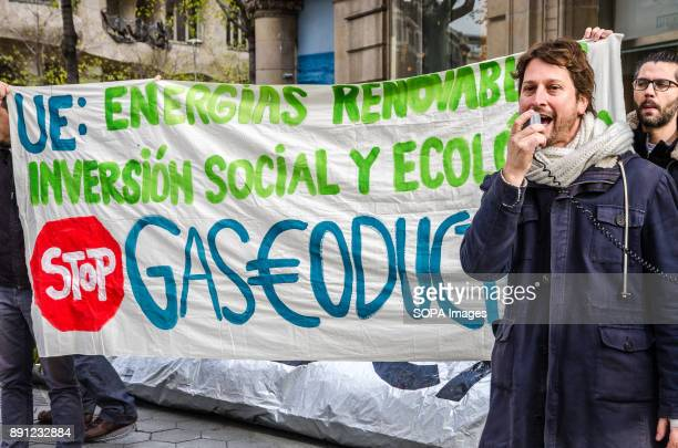 Journalist and activist Bruno Sokolowicz seen during his speech at the rally asking for stop the realization of new pipeline projects in Europe and...