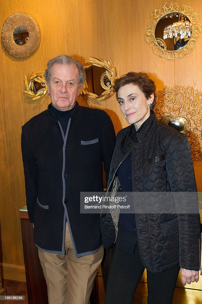 Journalist and author Natasha Fraser (R) and interior decorator Jacques Grange attend the 'Sorcieres' (Witches) exhibition preview at Galerie Pierre Passebon on January 8, 2013 in Paris, France.