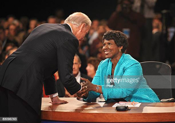 PBS journalist and debate moderator Gwen Ifill is greeted by Democratic vice presidential candidate US Senator Joe Biden during the vice presidential...