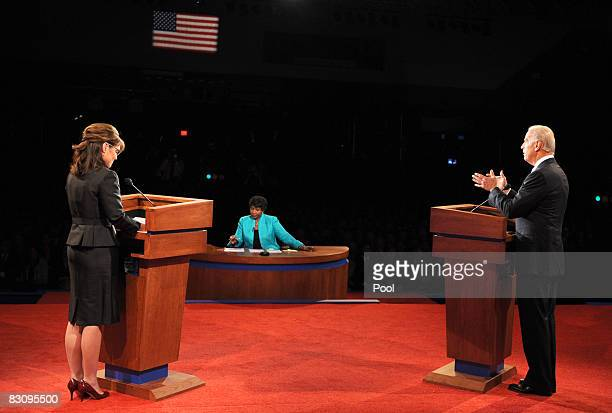 PBS journalist and debate moderator Gwen Ifill listens to Democratic vice presidential candidate US Senator Joe Biden as he makes a point while...