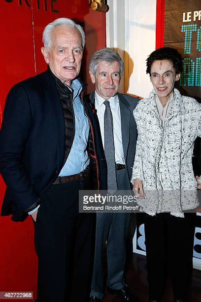 Journalist and Director Philippe labro Alain Minc and his wife attend the Private Screening of the Movie 'Tout Peut Arriver' at Mac Mahon Cinema on...