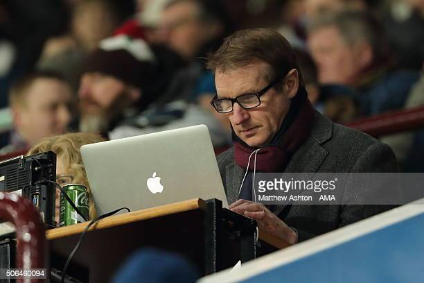 Journalist and football pundit Henry Winter now working for The Times newspaper working in the press box during the Emirates FA Cup match between...