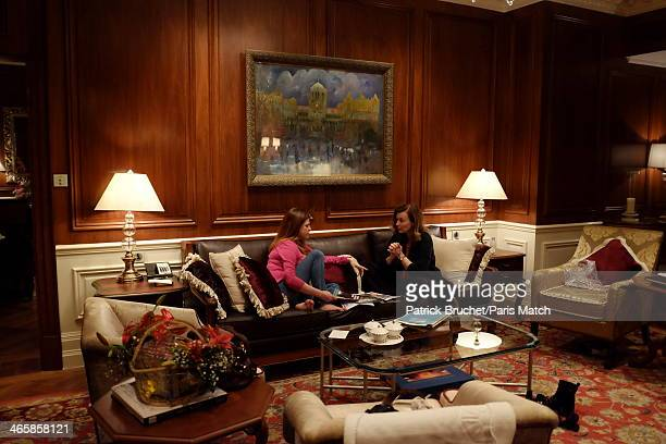 Journalist and former first lady to France's President Francois Hollande Valerie Trierweiler is photographed with actor Charlotte Valandrey for Paris...