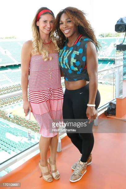 Journalist and former tennis player Tatiana Golovin and tennis player Serena Williams on France 2 French TV chanel studio at Roland Garros Tennis...