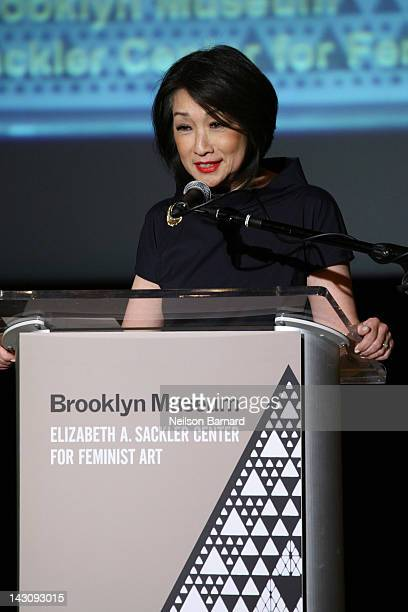 Journalist and honoree Connie Chung speaks on stage during the Brooklyn Museum's Sackler Center First Awards at the Brooklyn Museum on April 18 2012...