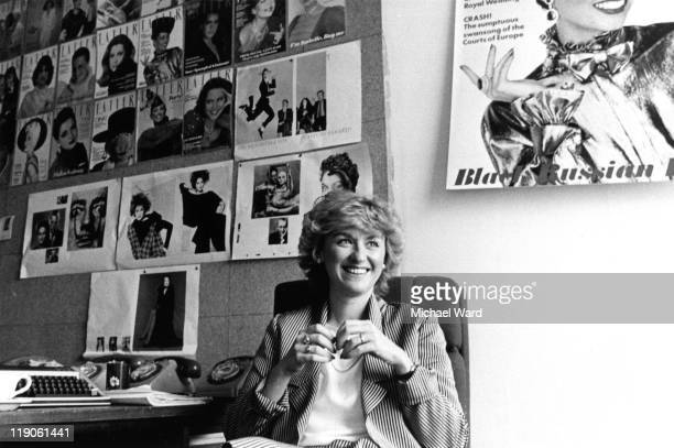 Journalist and magazine editor Tina Brown at the Tatler offices London Britain 1983