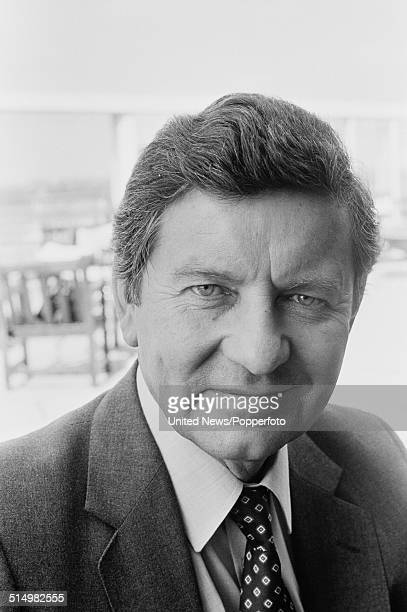 BBC journalist and newsreader Richard Baker posed at Television Centre in London on 28th August 1981