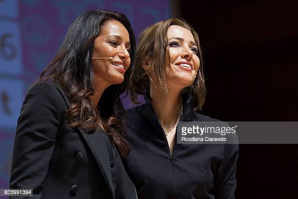 Journalist and Novelist Rula Jebreal and Writer Elif Shafak attend Bookcity Milan 2016 on November 17 2016 in Milan Italy