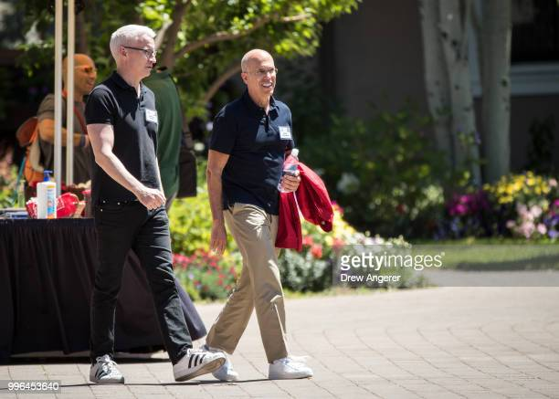 Journalist and television personality Anderson Cooper and Jeffrey Katzenberg former chief executive officer of DreamWorks Animation and former...