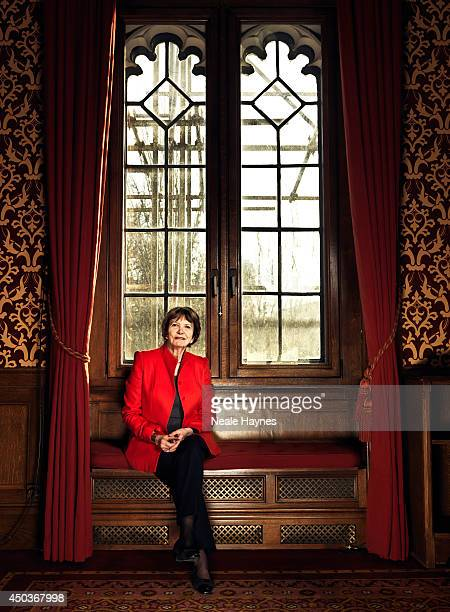 Journalist and television presenter Joan Bakewell is photographed for Saga magazine on December 9 2013 in London England