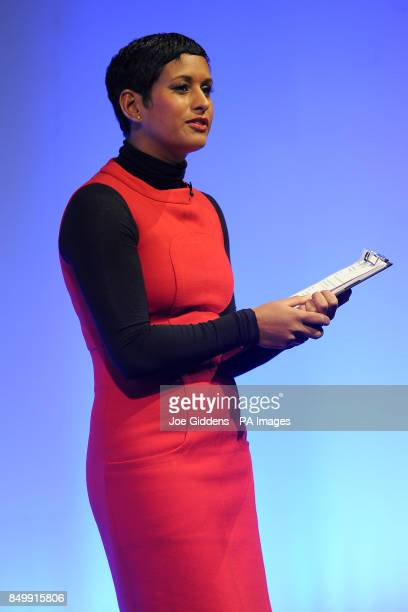 Journalist and television presenter Naga Munchetty talks during the Federation of Small Businesses Conference 2013 at The Curve Leicester PRESS...