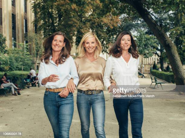 Journalist and tv presenter Laurence Ferrari with her sisters Emmanuelle and Sophie are photographed for Paris Match on September 8 2018 in Paris...