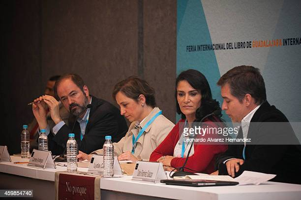 Journalist and writer Juan Villoro and journalists Carmen Aristegui and Lydia Cacho look on while journalist Dario Ramirez talks during a conference...