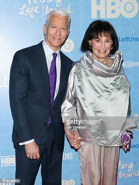 Journalist Anderson Cooper and artist Gloria Vanderbilt attend the Nothing Left Unsaid New York premiere at Time Warner Center on April 4 2016 in New...