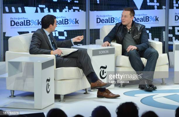 Journalist Andrew Ross Sorkin and CEO CTO of SpaceX and CEO Chief Product Architect of Tesla Motors Elon Musk participate in a discussion at the New...
