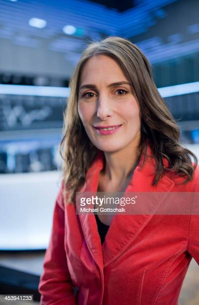 Journalist Anja Kohl during a portrait session on the trading floor of Deutsche Boerse AG on November 2 2013 in Frankfurt Germany