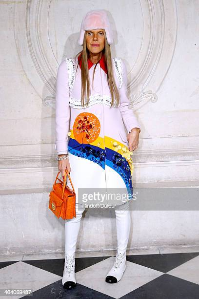 Journalist Anna Dello Russo attends the Christian Dior show as part of Paris Fashion Week Haute Couture Spring/Summer 2014 on January 20 2014 in...