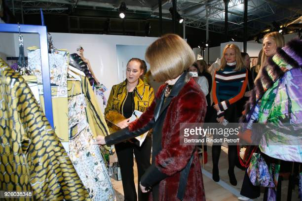 Journalist Anna Wintour and Louis Vuitton's executive vice president Delphine Arnault attend the LVMH Prize 2018 Designers Presentation on March 1...