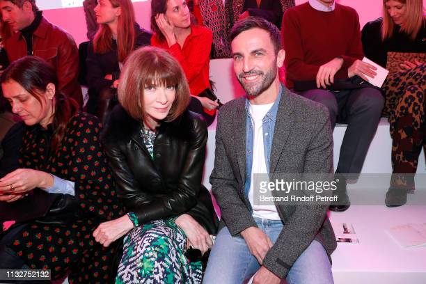 Journalist Anna Wintour and Stylist Nicolas Ghesquiere attend the Chloe show as part of the Paris Fashion Week Womenswear Fall/Winter 2019/2020 on...