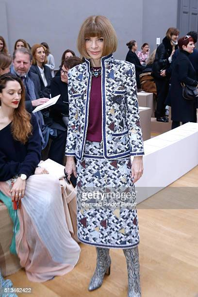 Journalist Anna Wintour attends the Chloe show as part of the Paris Fashion Week Womenswear Fall/Winter 2016/2017 Held at Grand Palais on March 3...