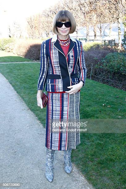 Journalist Anna Wintour attends the Christian Dior Spring Summer 2016 show as part of Paris Fashion Week Held at Musee Rodin on January 25 2016 in...