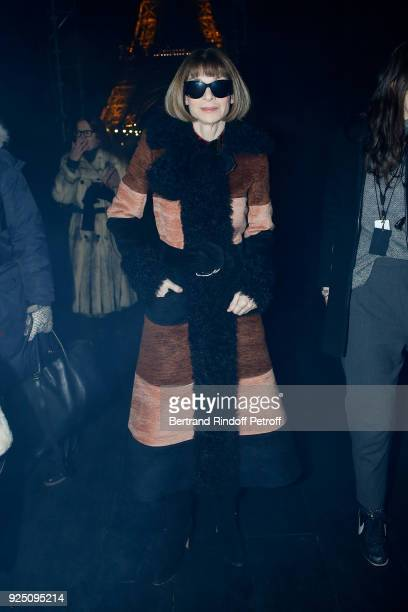 Journalist Anna Wintour attends the Saint Laurent show as part of the Paris Fashion Week Womenswear Fall/Winter 2018/2019 on February 27 2018 in...
