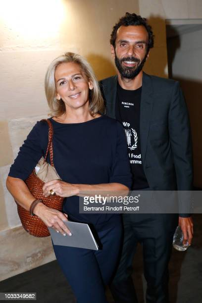 Journalist Anne Fulda and CEO of Balenciaga Cedric Charbit attend the Kering Heritage Days Opening Night at 40 Rue de Sevres on September 14 2018 in...