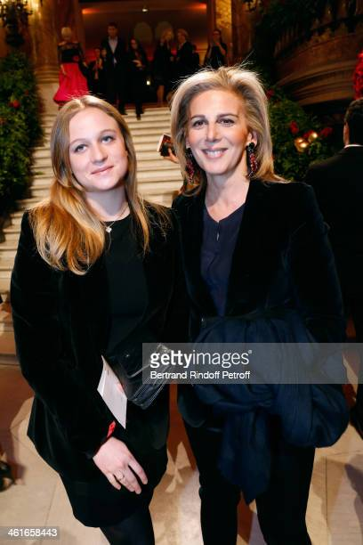 Journalist Anne Fulda and her daughter attend Arop Charity Gala with 'Ballet du Theatre Bolchoi' Held at Opera Garnier on January 9 2014 in Paris...