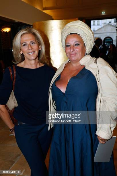 Journalist Anne Fulda and Valerie Solvit attend the Kering Heritage Days Opening Night at 40 Rue de Sevres on September 14 2018 in Paris France