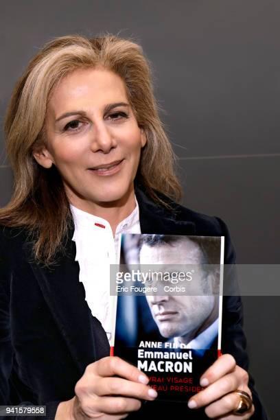 Journalist Anne Fulda poses during Paris Book Fair 2018 at Parc Des Expositions Porte de Versailles France on