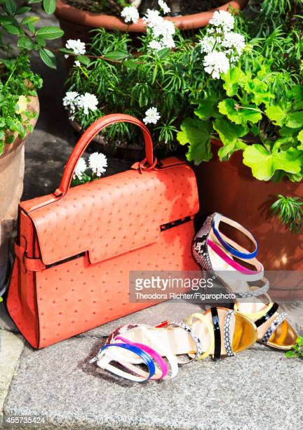 Journalist Anne Sophie Lapix's style inspirations are photographed for Madame Figaro on April 1 2014 in Paris France Bag shoes PUBLISHED IMAGE CREDIT...