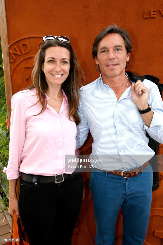 Journalist Anne-Claire Coudray and her companion Nicolas Vix attend the 2017 French Tennis Open - Day Twelve at Roland Garros on June 8, 2017 in Paris, France.